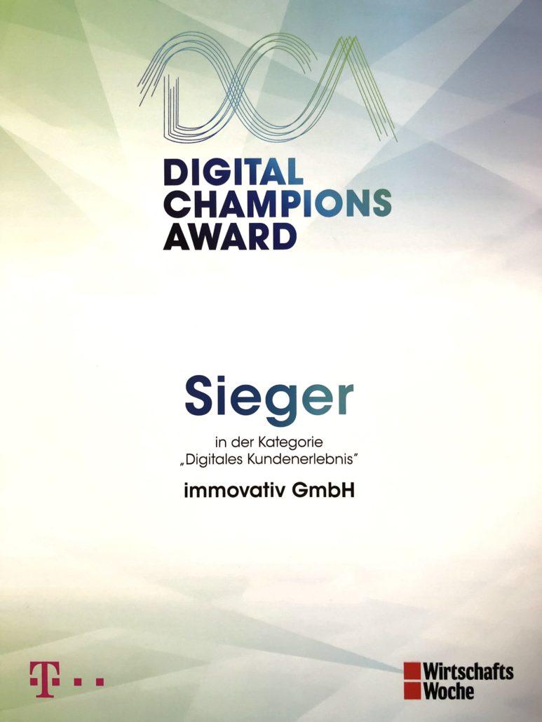 Siegerurkunde Digital Champions Award