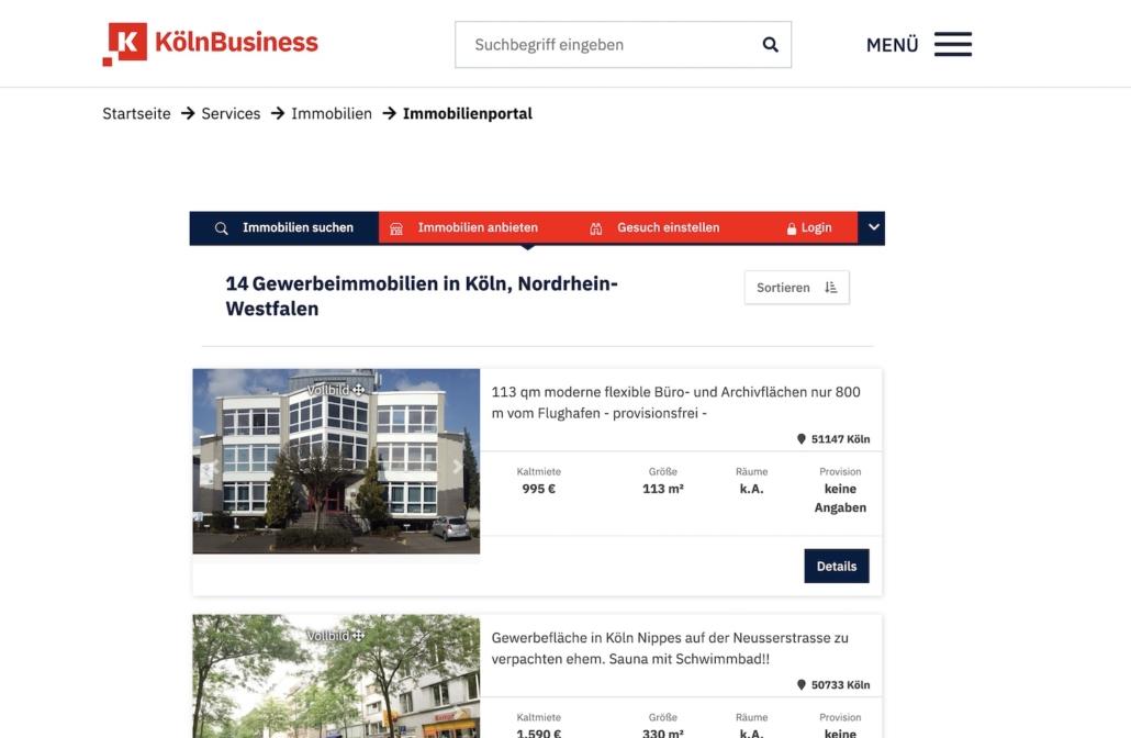 Immobilienportal in der städtischen Webseite